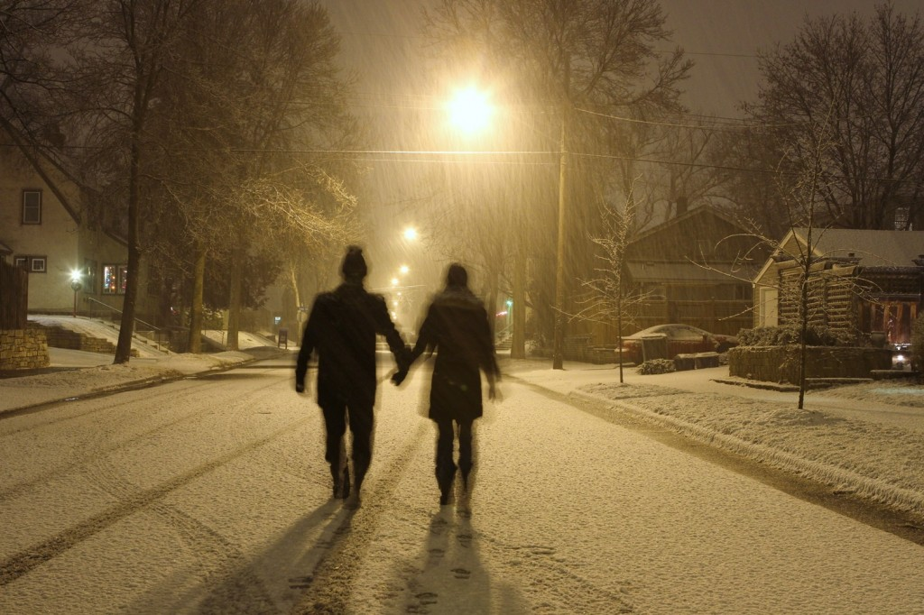 snowy couple